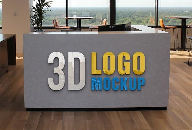 Mockup logo 3d reception ufficio