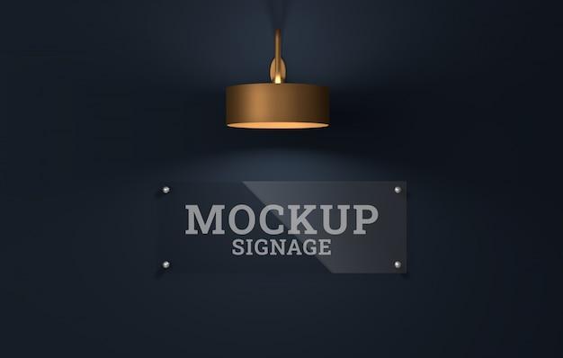 Mockup logo segnaletica in vetro. modello psd.