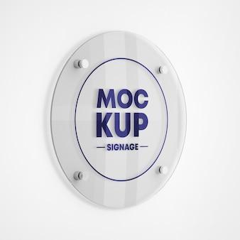 Mockup logo segnaletica in vetro rotondo