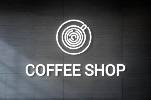 Mockup de logotipo en relieve de neón psd para cafetería
