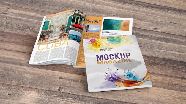 Mockup magazine sul tavolo di legno