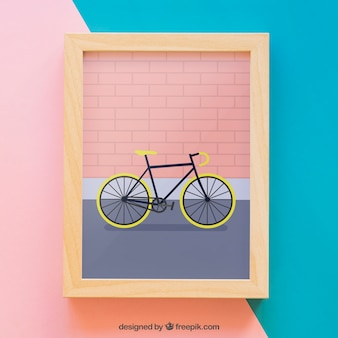 Mockup de marco con bici