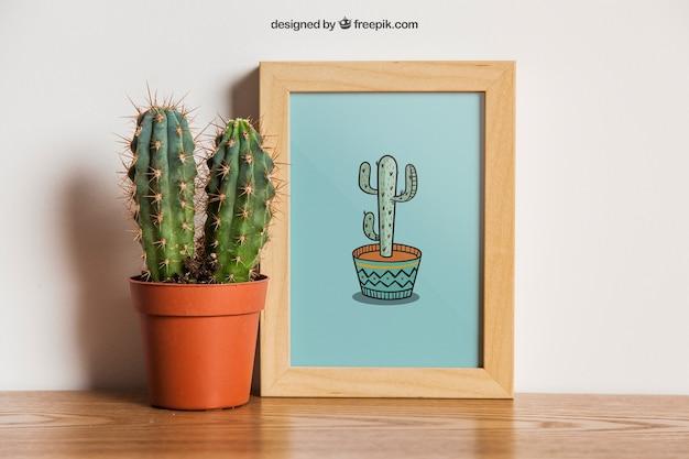 Mockup de marco con cactus