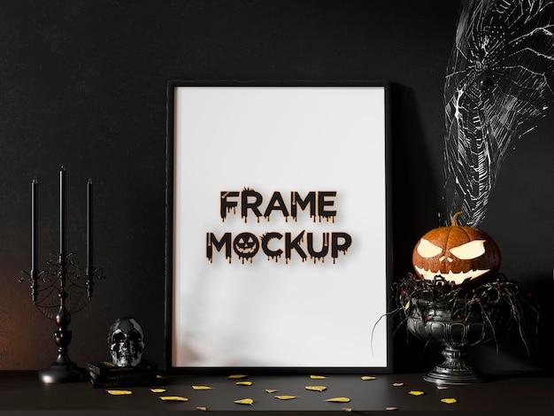Mockup de marco de calabazas del día de hallowen psd premium