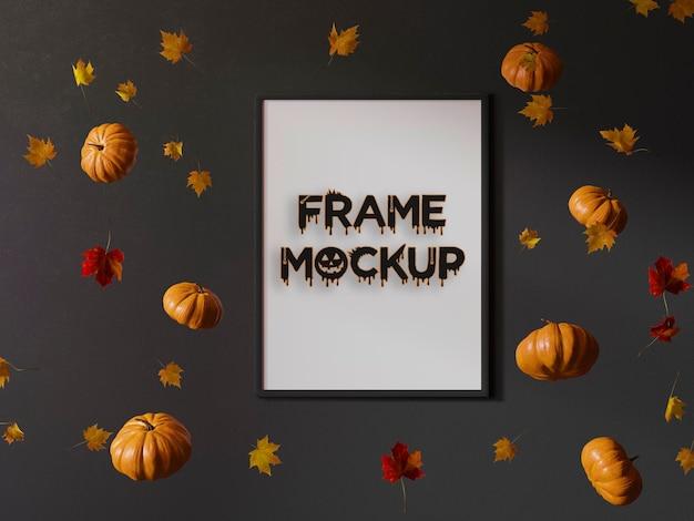 Mockup de marco de calabazas de helloween psd premium
