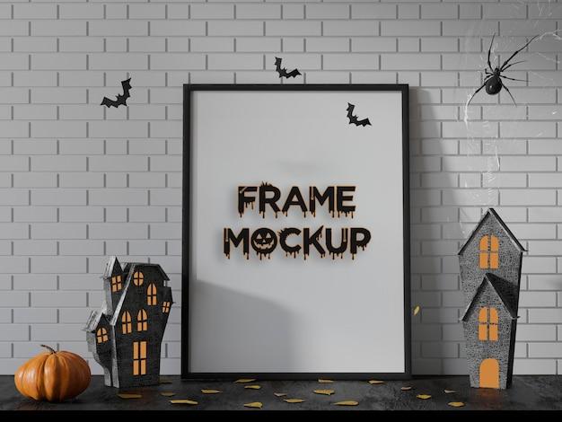 Mockup de marco de calabazas hellowen premium psd