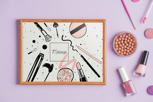 Mockup de marco con concepto de makeup