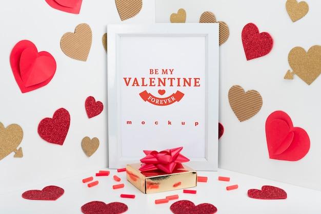 Mockup de marco con concepto de san valentin