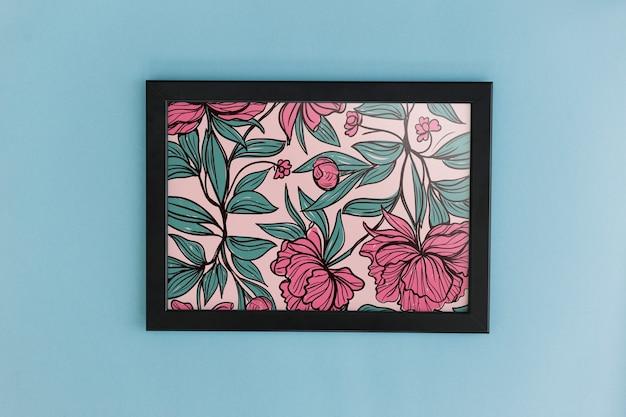 Mockup de marco con decoración floral