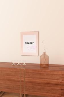 Mockup de marco encima de alacena