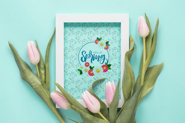 Mockup de marco flat lay para primavera