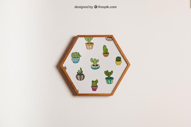 Mockup de marco hexagonal colgando