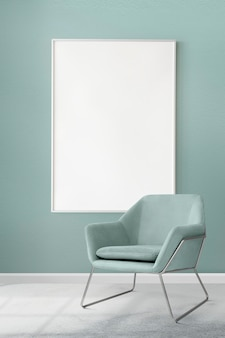 Mockup de marco de imagen psd colgado en una moderna sala de estar de lujo