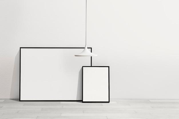 Mockup de marco de imagen psd colgado en una sala de estar mínima
