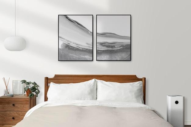 Mockup de marco de imagen psd en un dormitorio moderno brillante y limpio