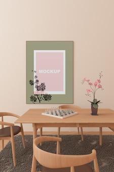 Mockup de marco en salón