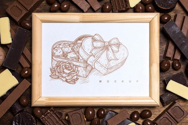 Mockup de marco sobre fondo de chocolate