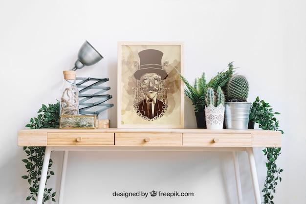 Mockup de marco sobre mesa decorativa