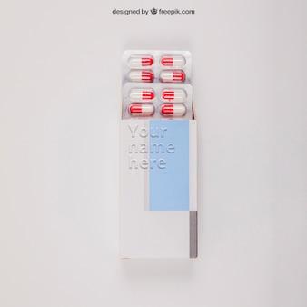Mockup médico con pastillas