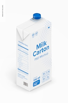Mockup melkpak, isometrische weergave