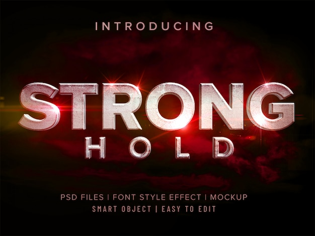 Mockup met 3d strong-hold-lettertype-effect