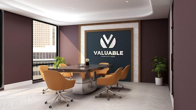 Mockup met bedrijfsmuurlogo in de luxe kantoorvergaderruimte