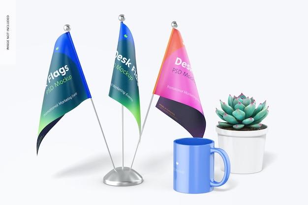 Mockup met bureauvlaggen, vooraanzicht