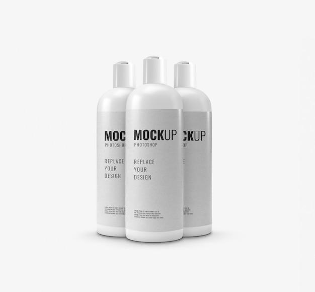 Mockup met deksel voor witte fles