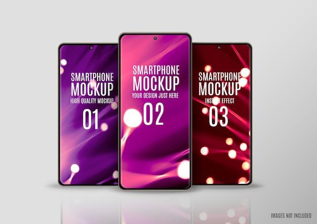 Mockup met drie smartphoneschermen