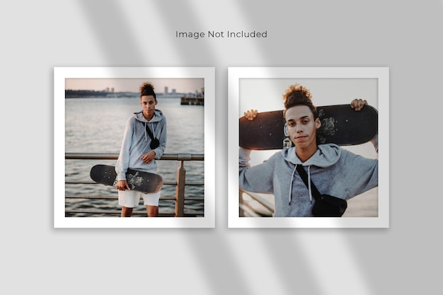 Mockup met dubbele vierkante fotolijst