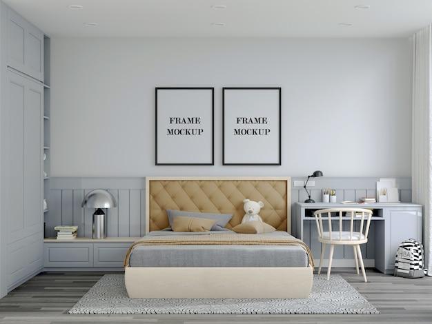 Mockup met dubbele wand van landelijke slaapkamer