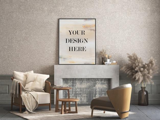 Mockup met dun frame dat tegen decoratieve gepleisterde muur in kamer met meubilair leunt