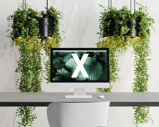 Mockup met één scherm met bloemen
