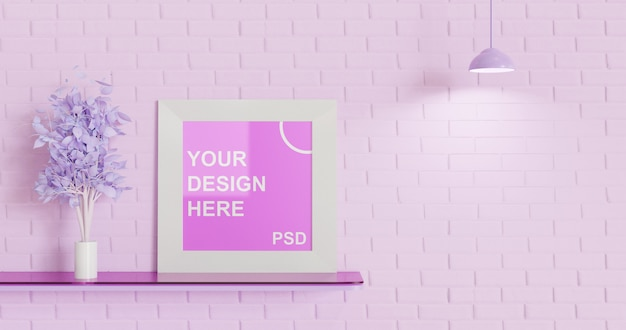 Mockup met één vierkant frame op het zwevende bureau, roze kleurenpalet