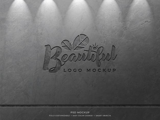 Mockup met gegraveerd logo op de muur