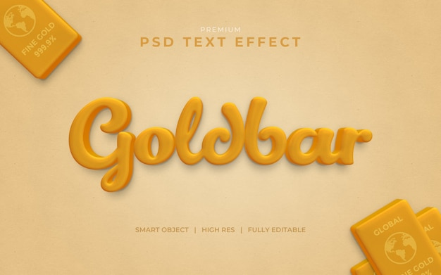 Mockup met goudstaaf-teksteffect Premium Psd