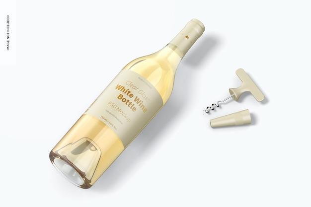 Mockup met helderglazen witte wijnfles, bovenaanzicht