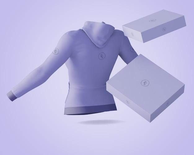 Mockup met hoodie en dozen
