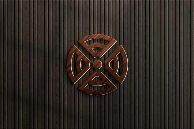 Mockup met houten logo op de muur