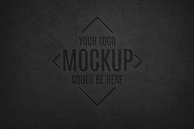 Mockup met leer geperst logo