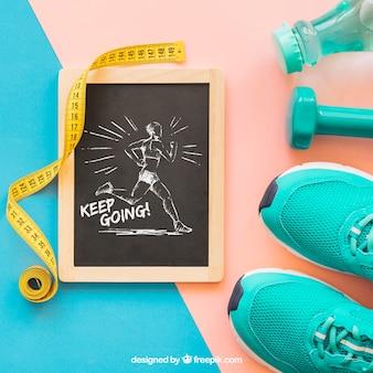 Mockup met leisteen en schoenen