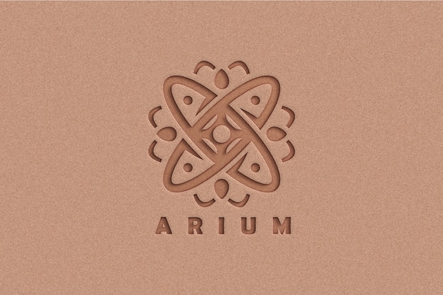Mockup met logo in reliëf op kraftpapier