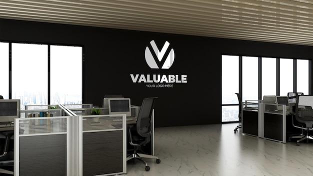 Mockup met logo op kantoorruimte werkruimte