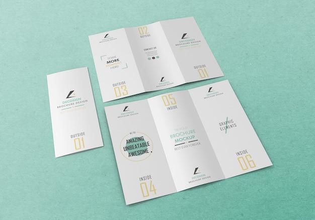 Mockup met meerdere gevouwen brochures