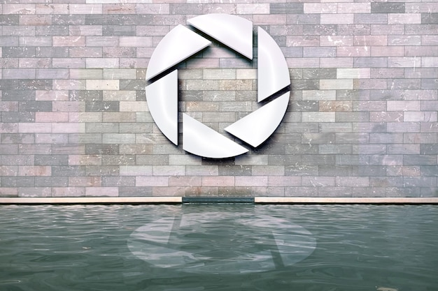 Mockup met metalen logo aan de muur