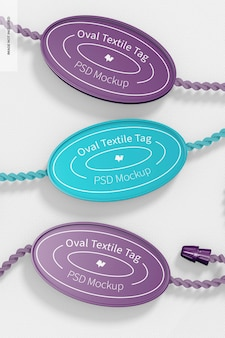 Mockup met ovale textiellabels, vooraanzicht