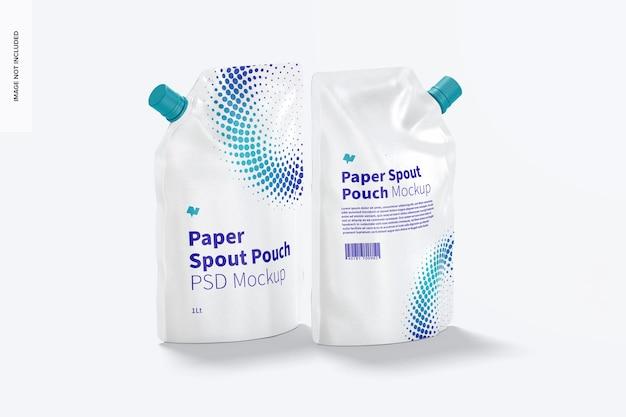 Mockup met papieren uitloopzak van 1 liter