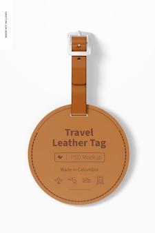 Mockup met ronde leren labels voor reizen, bovenaanzicht