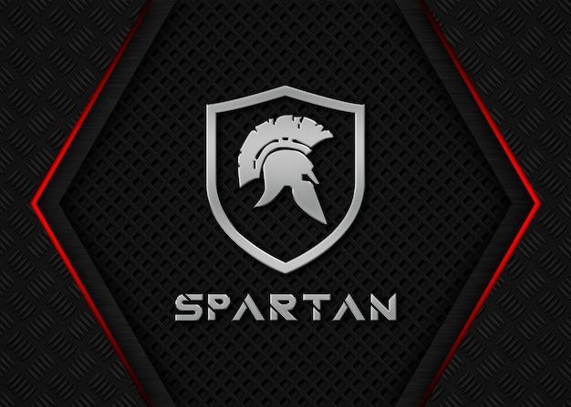 Mockup met spartan metal-logo en verschillende donkere ijzeren elementen