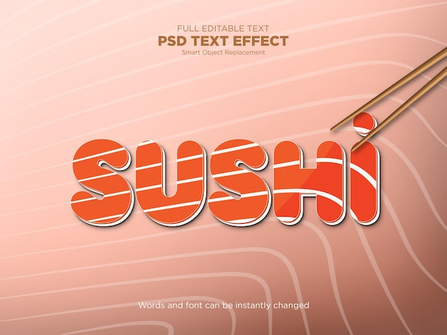 Mockup met sushi-teksteffect